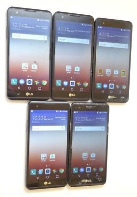 Lot of 5 LG X Power 16GB Smartphones 1 Boost Mobile Good Charger Port AS-IS CDMA