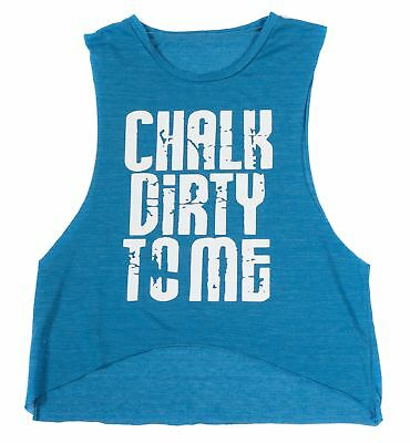 Women's Blue Chalk Dirty To Me Muscle Crop Tank