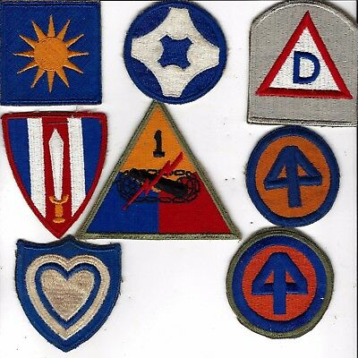 WW2 lot ,44th Div patch w/ OD border plus 39th Div, 40th,ORIGINAL WW2 period lot