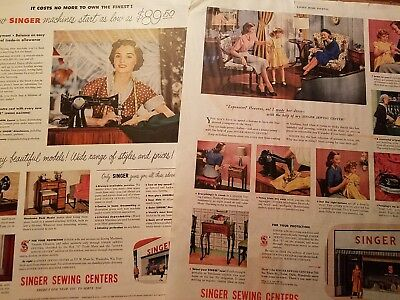 1948 & 1950 SINGER SEWING MACHINE Lot 2 Vtg PRINT AD Advertising Full Page
