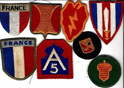 WW2 lot of original patches, guaranteed.  5th Army, France War Aid, etc.....
