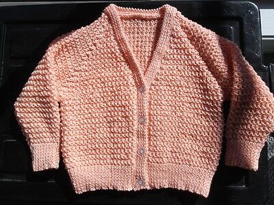 Hand Knitted Baby Clothes - Cardigan To Fit 3 Mth Old (Approx) - Apricot 4Pl New