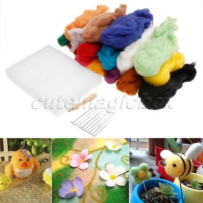 DIY Spinning Materials 16 Colours Wool + 9 Needles + Felting Handle 3 in 1 Set