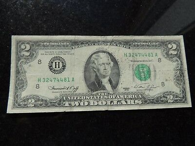 1976 United States Federal Reserve Note $2 Two Dollars St-Louis Missouri
