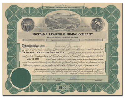 Montana Leasing & Mining Company Stock Certificate (Kalispell)
