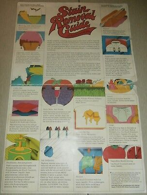 1972 Clorox Laundry Detergent Stain Removal Guide Folded/poster ? Print Ad~Rare