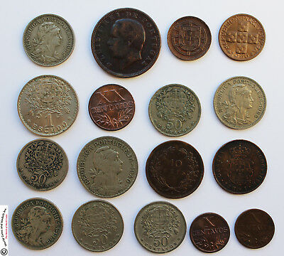 PORTUGAL 1870's to 1950's LOT OF 17 OLD COINS.