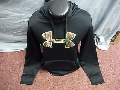 New Men's Under Armour STORM 1 Black & Realtree Loose Fit Hoodie LARGE