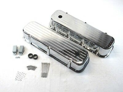 Retro Ball Milled Black Coated Tall Valve Covers For 65-95 BBC Chevy 454