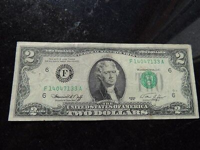 1976 United States Federal Reserve Note $2 Two Dollars Atlanta Georgie
