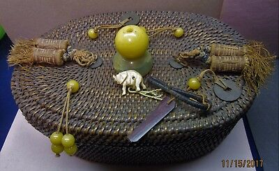 Antique Chinese Oval Woven Basket Coins Glass Stone Beads Elephant Tassles