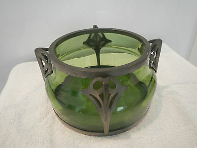 Antique Arts & Crafts Green Glass Bowl With Pewter Frame In T.m.o. Liberty & Co