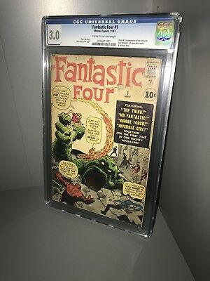 FANTASTIC FOUR #1 CGC 3.0 THE MARVEL AGE OF COMICS BEGINS 1961 Holy Grail Key!