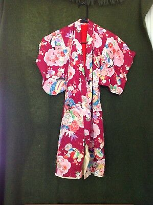 Vintage Japanese Kimono for Child- red, Bright Colors, MINT