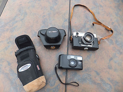 Vintage 2 Camera Lot - Wards am 550 35mm & Nikon One Touch Zoom AF - AS IS