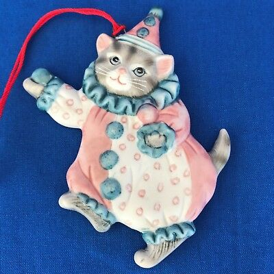 Schmid Kitty Cucumber CLOWN Cat Flat Christmas Ornament B. Shackman 1985