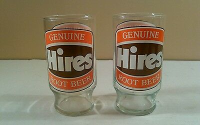2 Vintage Hires Root Beer 12 oz Soda Pop Glass