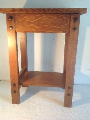 """Mission Style Dark Stained Solid Qtr Sawn Oak Table Or Plant Stand 12""""x18""""x24"""""""