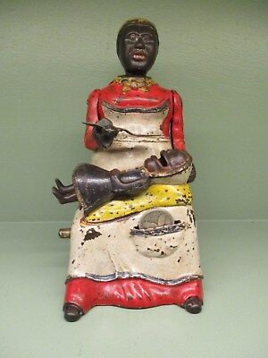 "Cast Iron ""MAMMY AND CHILD"" EXCELLENT PLUS Mechanical Bank Original Antique Toy"