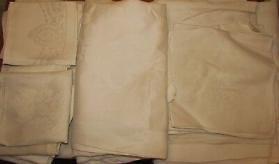Three Damask Linen Cloths, Two With Twelve Matching Napkins