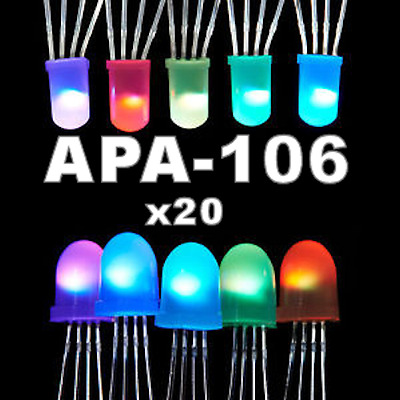 APA-106 Addressable RGB LED 5mm/8mm - like Neopixel (20 Pcs)