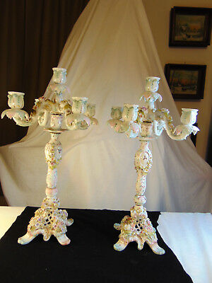 Pair German Dresden Candelabras 4 arms each Turn of the Century