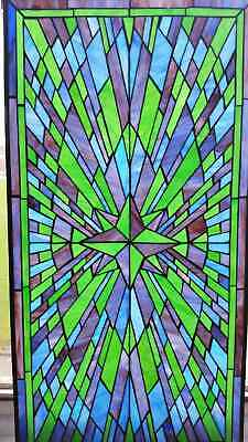 """Stunning Stained Glass Window Panel ~ 20.25"""" x 40.25"""" ~ Ships for Free"""