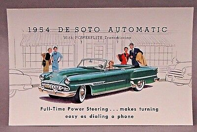 1954 DESOTO AUTOMATIC with POWERFLITE advertising promotional card DE SOTO