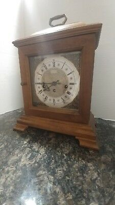 Vintage Wooden Case Hamilton Wheatland Westminster Chime Carriage Mantle Clock