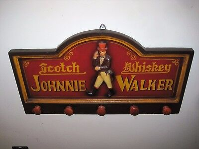 Johnnie Walker Whisky Wooden Hand Painted Sign Coat Rack