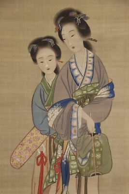 """JAPANESE HANGING SCROLL ART Painting """"Chinese Beauty"""" Asian antique  #E8357"""