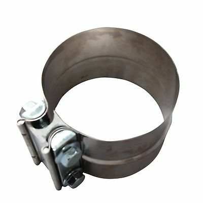 """New 3"""" OD Pipe to 3"""" ID Pipe Stainless Steel Lap Joint Band Exhaust Clamp"""