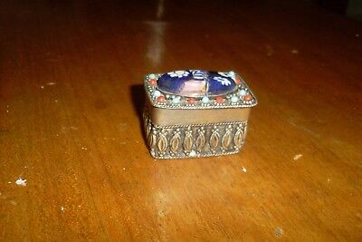 Small Vintage Style Ornate Silver Tone Trinket Box
