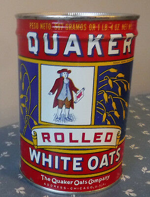VINTAGE QUAKER 1920's RARE UNOPENED QUAKER ROLLED WHITE OATS TIN LITHO CAN
