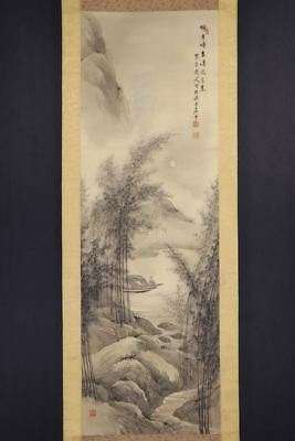 JAPANESE HANGING SCROLL ART Painting Scenery Asian antique  #E8227