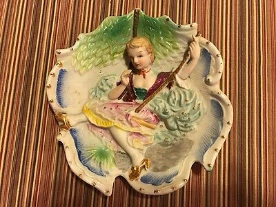 Bisque  Occupied Japan 3D Woman Figurine Sitting Swing Wall Hanging Plaque