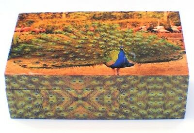 "Large Peacock Wooden Keepsake Jewelry Box 5""x 8"""