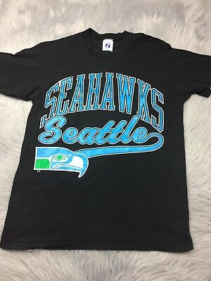 Vintage Black Seattle NFL Seahawks Football Logo 7 T Shirt Top Adult