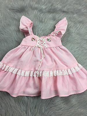 Vtg Toddler Baby Girls Pink Flutter Sleeve Pinafore Lace Ruffle Top Dress