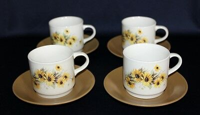 Aust Ceramics Johnson Bros Matching Set Of 4 Cups & Saucers Yellow Daisy Pattern