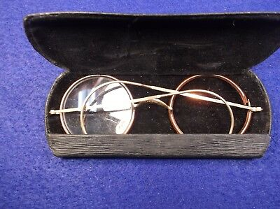 "Beautiful Pair Of Vtg Antique Yellow Gold Eyeglasses ""harry Potter"" Round Lenses"