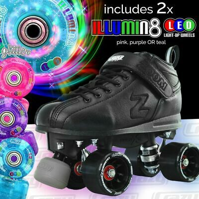 Zoom Speed Skate Quad Roller Skates with 2 LED Glitter wheels & LOVE SKATING BAG