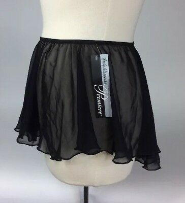 Body Wrappers Premiere P984 Black Chiffon Pull-On Seamless Skirt Adult Size NWT
