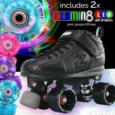 Zoom Speed Skate Quad Roller Skates with 2 LED Glitter wheels & BLUE RETRO BAG