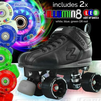Zoom Speed Skate Quad Roller Skates with 2 LED Colour wheels & PURPLE RETRO BAG!