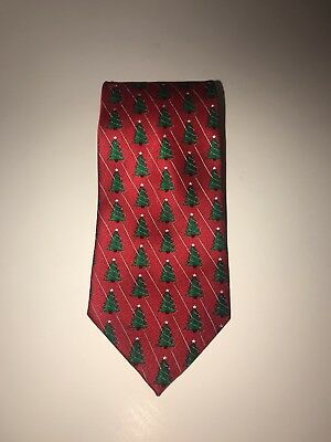 Hallmark Traditions Christmas Tree Printed Red Tie Holiday Necktie