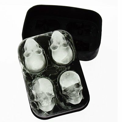 Whiskey Silicon Ice Cube Maker Mold Mould 3D Skull Brick Christmas Party Tray US