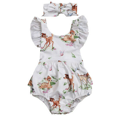 Newborn Baby Toddler Girl Summer Bambi Romper Bodysuit + Headband Clothes Outfit
