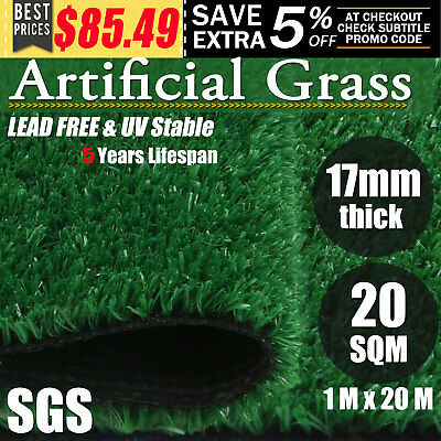20 Sqm Synthetic Artificial Grass Turf Plastic Fake Plant Lawn Flooring 17mm