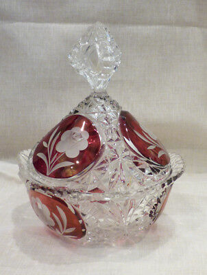 Beautiful Cut and Stained Glass Crystal Bowl with Bishop-Shaped Crystal Lid!!
